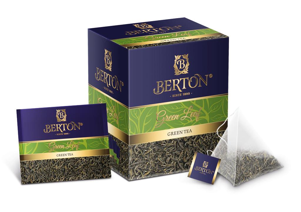 Чай листовой Berton Зеленый лист (Green Leaf) в пирамидках, для заваривания в чашке