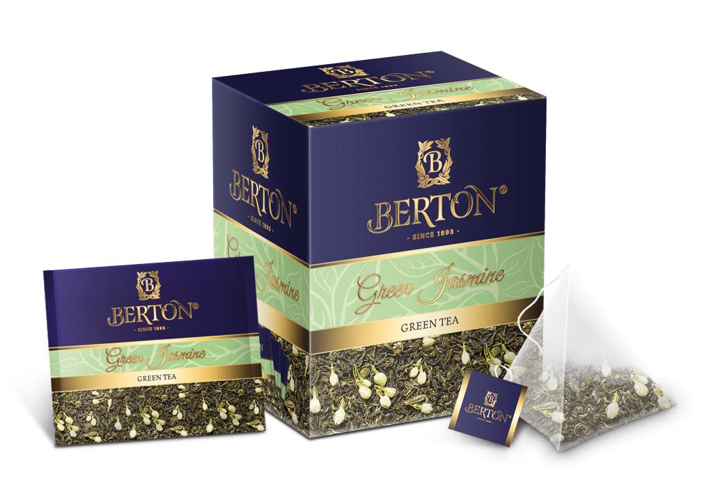 Чай листовой Berton Зелёный жасминовый (Green Jasmine) в пирамидках, для заваривания в чашке