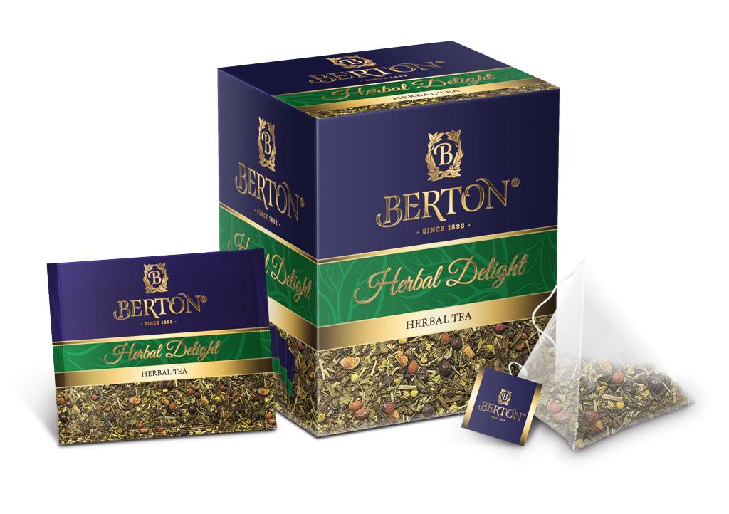 Чай листовой Berton Травяное удовольствие (Herbal Delight) в пирамидках, для заваривания в чашке