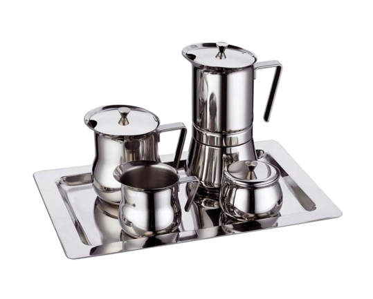 Набор G.A.T. PRATIKA - гейзерная кофеварка, кофейник, сахарница, молочник, поднос