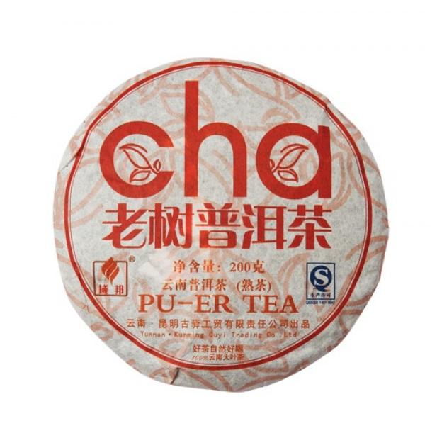 Чай китайский элитный шу пуэр Лао Шу Ча Фабрика Куньмин Гуи Компани сбор 2008 г. 185-200гр. (блин)