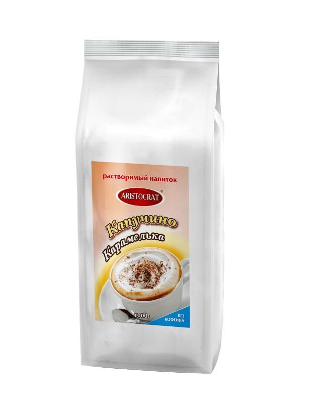 Напиток растворимый ARISTOCRAT Капучино Карамелька (без кофеина) 1,0 кг.