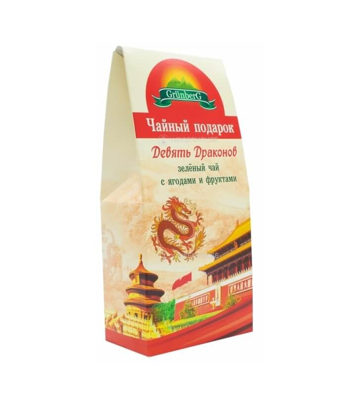 Чай Grunberg Девять Драконов (зеленый ароматизированный), в подарочной упаковке 100гр