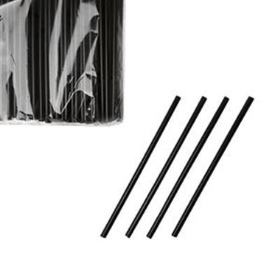 Трубочки без изгиба чёрные 240 x 8 мм. в инд. упаковке
