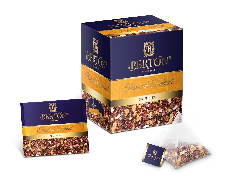 Напиток чайный Berton Тропический коктейль (Tropical Cocktail) в пирамидках, для заваривания в чашке