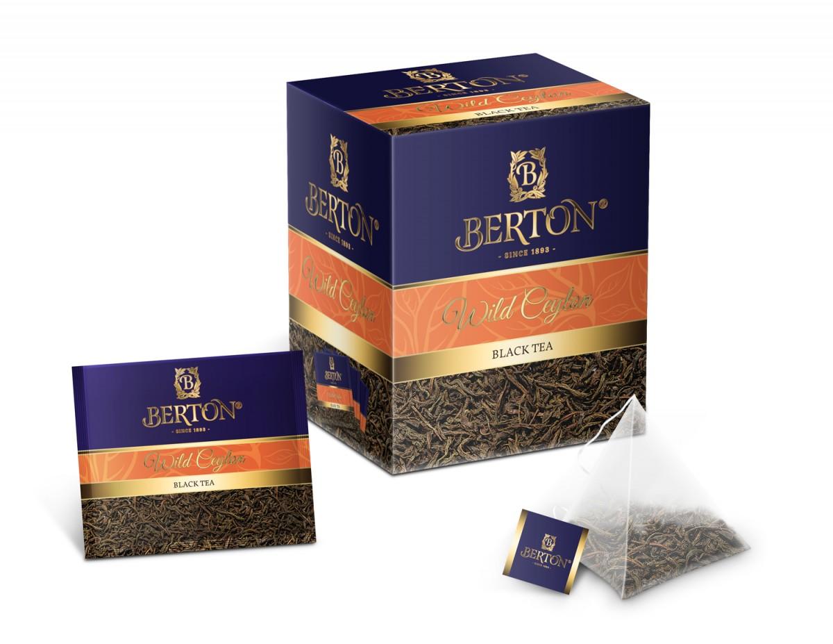 Чай листовой Berton Дикий цейлон (Wild Ceylon) в пирамидках, для заваривания в чашке