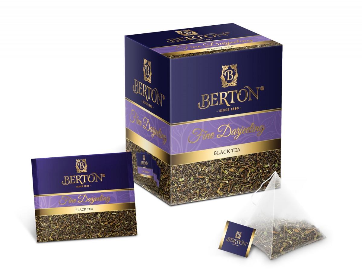 Чай листовой Berton Превосходный дарджилинг (Fine Darjeeling) в пирамидках, для заваривания в чашке